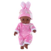 African American Reborn Baby Girl Doll Full Vinyl Newborn Baby w. Clothes #2