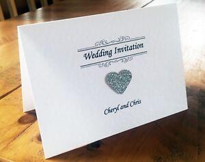 Personalised Tent-Fold Wedding Invitation sample with Raised Glitter Heart