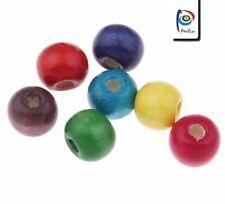 Bunte Holzperlen 14mm / 100stk Kugel Schmuck Basteln Deco Wooden Beads BEST H128