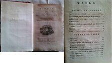 C1 Poèmes de LEGOUVE et de VIGEE 1799 An VII 3e Edition BON ETAT Epuise