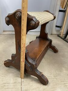 """Antique Foot Rest Wood Prayer Bench Kneeling Stool Hinged Compartment 18""""tall"""