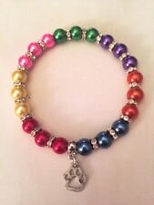 Rainbow bridge memorial stretch bracelet with paw charm cat dog in memory
