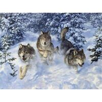 DIY 5D Full Drill Diamond Painting Embroidery Cross Stitch Kits Running Wolf