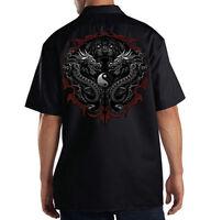 Dickies Black Mechanic Work Shirt Asian Tiger Dragon Ying Yang Tattoo Style