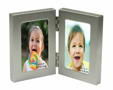 MINIATURE Twin 2 Picture Vertical Double Folding Photo Frame 2 Photos 1.5 x 2.5""