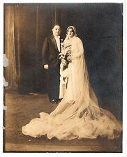 Vintage 8x10 Photo Beautiful Bride Groom Wedding Portrait Antique Aug17 d