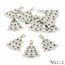 Christmas Tree Charms with Rhinestone (set 6)