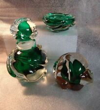 Murano Glass ORLIBE Perfume Orb Dish 3 pcs Italy vintage Forest Green Clear