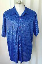 NICE! CLUB Sequin Circle Dots Sateen Shiny Blue Shirt Mens L  Button Up USA NWOT