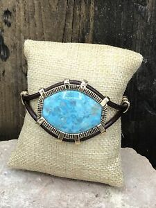 Barse Western Sky Bracelet- Turquoise & Leather- Bronze- New With Tags