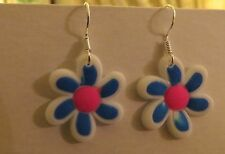 Blue/White Flowers Rubber/Silicone Dangling Earrings