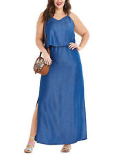 NEW Simply Be BLUE Denim Double Layer Side Split Maxi Dress 18 20 22 24 30 32 40