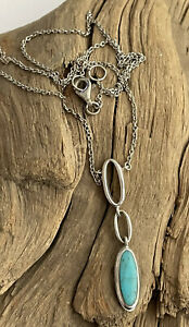 Vintage 925 Silver & Turquoise Navajo Style Pendant & Attached Chain 18 Inch