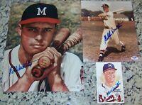 Eddie Mathews Signed 11x14 8x10 Baseball Photos Perez Steele Postcard PSA AR COA