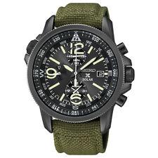 Brand New Seiko SSC295 Solar Alarm Chronograph Military Nylon Strap Men's Watch