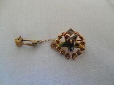 Mason Eastern Star 14k gold top enamel & diamond pin brooch w/gavel