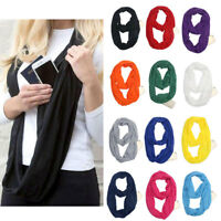 Infinity Scarf With Zipper Pocket Women Convertible Soft Loop Ring Neck Scarves