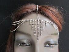 Women Silver Metal Head Chain Fashion Jewelry Grecian Forehead Rhinestones Hair