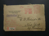 Leipzig 1929 Registered Metered Cover to New York (Cut On 3 Sides) - Z5858