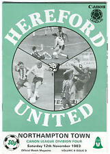 Football Programme - Hereford United v Nothampton Town - Div 4 - 12/11/1983
