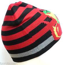 Children Red Stripe Black Red Polycotton Cherry Hat Cap Beanie Hats