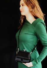 Judith Leiber 007 SPY GEAR RICH BLACK SATIN FORMAL Clutch SHOULDER Bag Purse