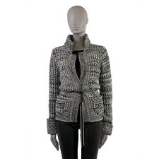 39140 auth CHANEL grey black & white cashmere & silk Knit Jacket 42 L