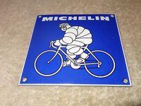"""VINTAGE MICHELIN BIBENDUM MAN ON BICYCLE 4"""" PORCELAIN METAL GASOLINE & OIL SIGN!"""