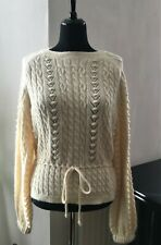 Zara Ecru Cable Knit with Cord Detail Tie Jumper Sweater - Size M