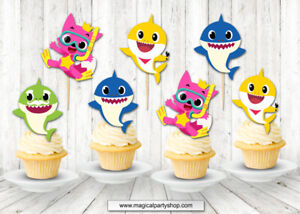 Pinkfong Baby Shark Cupcake Toppers Baby Shark Party Supplies Party Favors