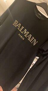 BALMAIN PARIS LOGO T-SHIRT/TEE BLACK WITH GOLD XXL