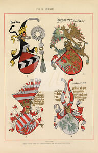 1904 Heraldry Coloured Vintage Print - Examples of Arms #F487