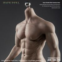 JIAOU DOLL 1/6 Scale Strong Male Skeleton Seamless Black Skin Muscle Figure Body