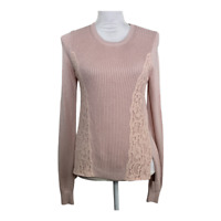 Ann Taylor Loft Womens Sweater Size XS Pullover Ribbed Knit Lace Pink High Low