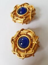 VINTAGE ESCADA LARGE GOLDTONE BLUE GRIPOIX  WIRE WRAPPED ROUND EARRINGS
