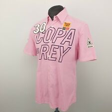 Gaastra Mens Shirt LARGE Short Sleeve Pink Regular Fit Check Cotton Gingham
