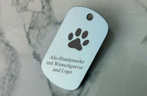 Hundemarke, Dog Tag Erkennungsmarke silbergrau mit Logo + beidseitiger GRAVUR