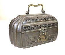 ANTIQUE 1800's Middle Eastern QAJAR ISLAMIC CHASED BRASS BRONZE CASKET BOX