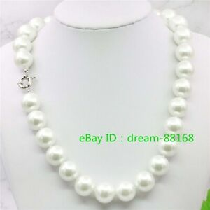 """Pretty 12mm Genuine White South Sea Shell Pearl Round Beads Necklace 18"""" AAA"""