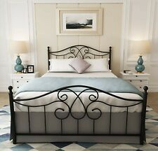 Black Queen Size Metal Bed Frame with Headboard Footboard, No Box Spring Needed