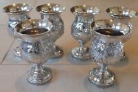 Matching Set of Six Early 1900 Sterling Silver Golf Presentation Goblets Trophy