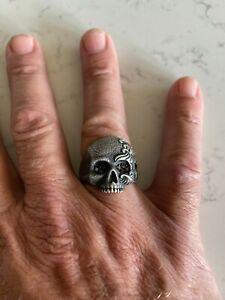 DAVID YURMAN Mens LARGE Sterling Silver Waves Skull Ring with Black Diamond Eyes