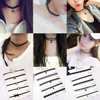 5Pcs/Set Women's Gothic Punk Velvet Tattoo Lace Choker Collar Pendant Necklace