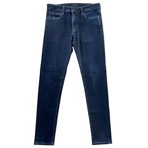 UNIQLO Mens 31W x 34L Jeans Denim Pants Skinny Fit Tapered Dark Blue Stretch