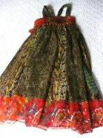 Girls NEXT SIGNATURE party summer DRESS age 5 6 years orange brown hippy floaty