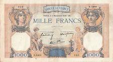 Billet banque 1000 Frs CERES ET MERCURE 03-11-1938 UN B.5469 état voir scan