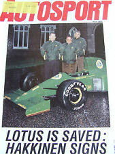 AUTOSPORT MAGAZINE DEC 1990 LOTUS IS SAVED F1 F3 BLOMQVIST BEATS THE YOUNGSTERS