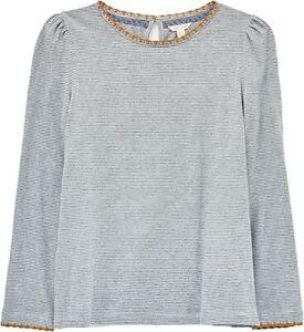 WHITE STUFF Womens Grey Stripe Cotton Jersey Crochet Trim Top Blouse Tee 8-22