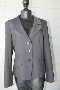 Talbots Dark Gray Jacket Blazer Button Italian Fabric Size 10