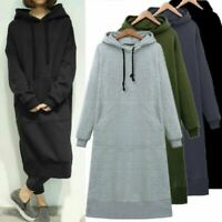 Women Winter Fleece Lining Long Sleeve Pullover Hoodie Sweatshirt Maxi Dress